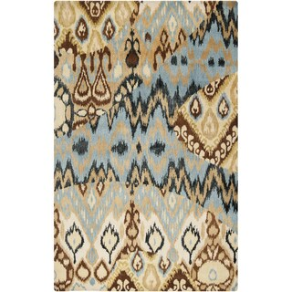 Hand-tufted Sentra Soft Blue Ikat Wool Rug (3'3 x 5'3)