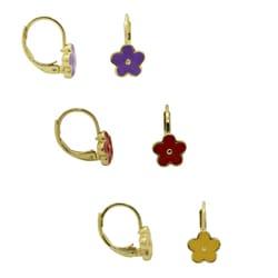 Gioelli 18k Gold Overlay Large Enamel Flower Leverback Earrings