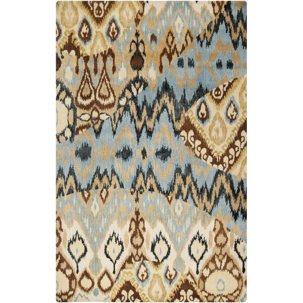 Hand-tufted Sentra Soft Blue Ikat Wool Rug (5' x 8')