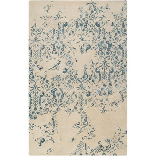 Hand-tufted Sephia Parchment Distressed Damask Wool Rug (2'6 x 8')