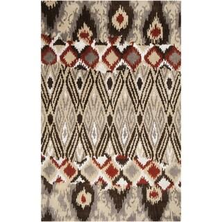 Hand-tufted Sequoia Venetian Red Ikat Wool Rug (8' x 11')