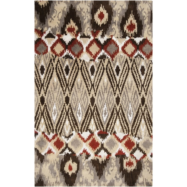 Hand-tufted Sequoia Venetian Red Ikat Wool Rug (8' x 11')