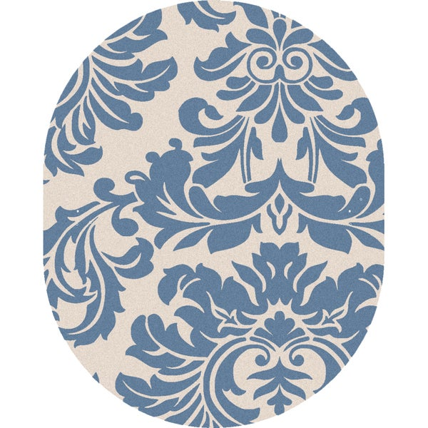Hand-tufted Slate Blue Mondial Wool Rug (8' x 10' Oval)