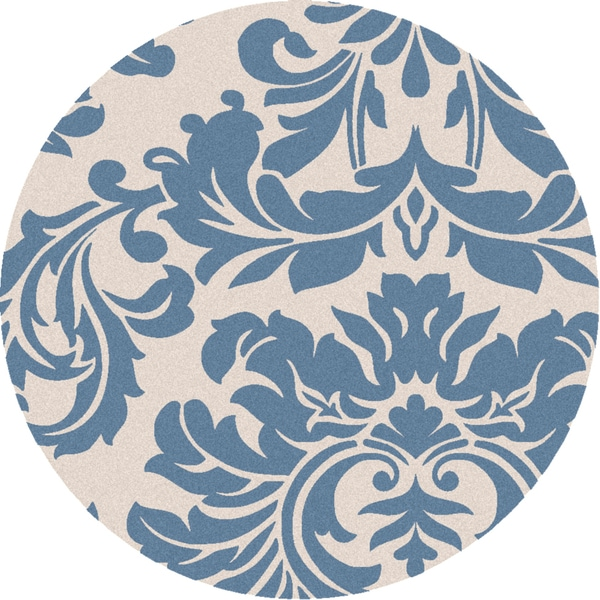 Hand-tufted Slate Blue Mondial Wool Rug (6' Round)