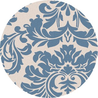 Hand-tufted Slate Blue Mondial Wool Rug (4' Round)