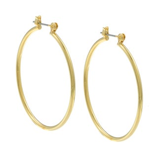 City Style Goldtone Polished Hoop Earrings