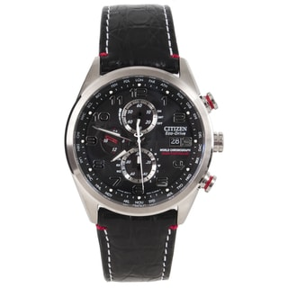 Citizen Men's Eco-drive 'World Chronograph A-T' Crocodile Strap Watch
