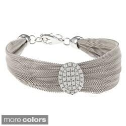 Sterling Silver Italian Cubic Zirconia Mesh Bracelet
