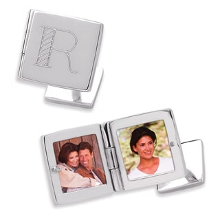 Sterling Silver Engraved Square Locket Cuff Links