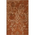 Hand-tufted Sonata Rust Red Distressed Damask Wool Rug (5' x 8')