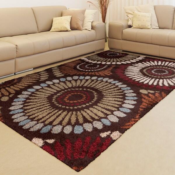 Arsizio Rust Floral Plush Shag Rug (5'3 x 7'3)