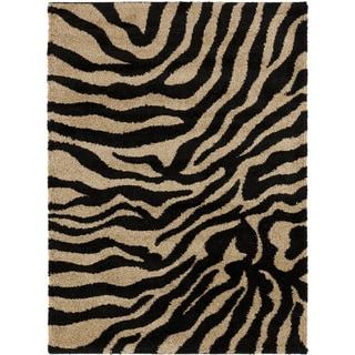 Meticulously Woven Black/White Zebra Aquila Animal Print Rug (2' x 3')