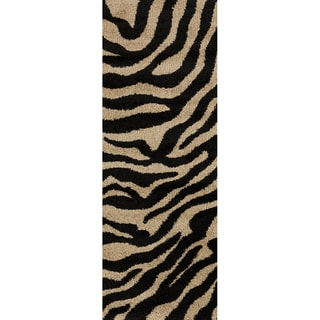 Meticulously Woven Black/White Zebra Aquila Animal Print Rug (2'7 x 7'3)