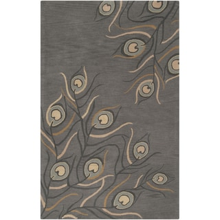 Hand-tufted Carpi Dark Grey Floral Wool Rug (3'3 x 5'3)