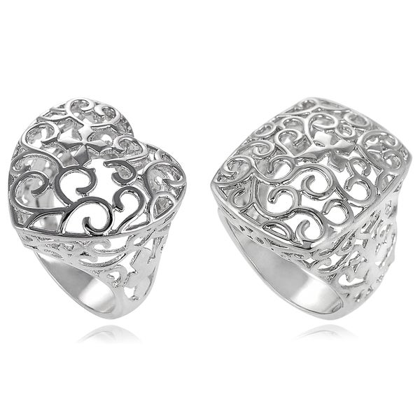 Journee Collection Sterling Silver Filigree Ring