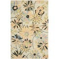 Handmade Blossom Beige Wool Rug with Cotton Canvas Backing (5' x 8')