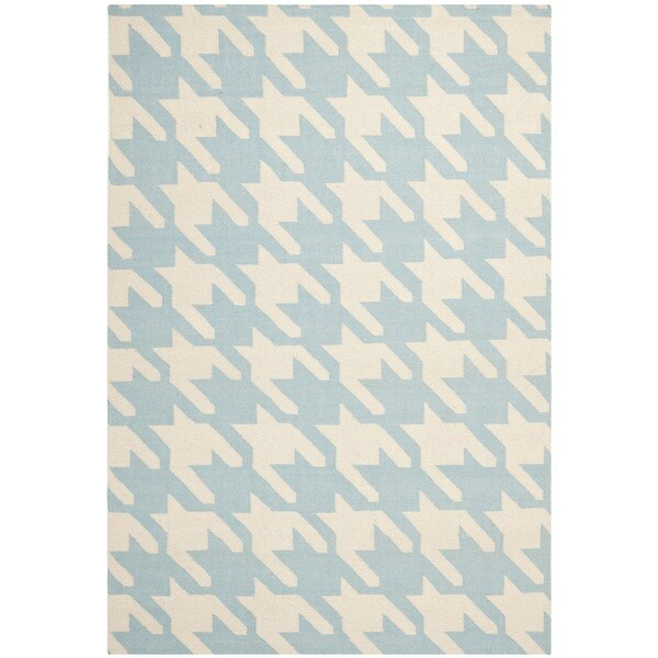 Safavieh Hand-woven Moroccan Reversible Dhurrie Hounds Tooth Reversible Dhurrie Light Blue Wool Rug (6' x 9')
