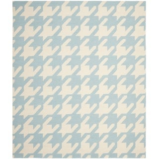 Safavieh Hand-woven Moroccan Dhurrie Hounds Tooth Dhurrie Light Blue Wool Rug (8' x 10')