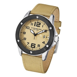 Stuhrling Original Men's Pilot Ace Ivory-Dial Quartz Canvas Leather Strap Watch