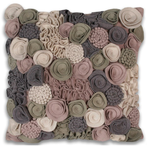 Edan Flowers 16 x 16-inch Wool Decorative Pillow