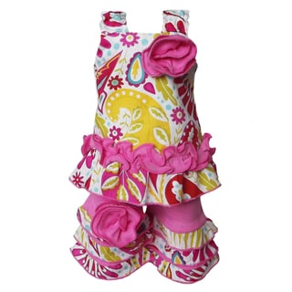 AnnLoren 2 piece Starburst Floral Tunic & Capri Outfit Fits American Girl Doll