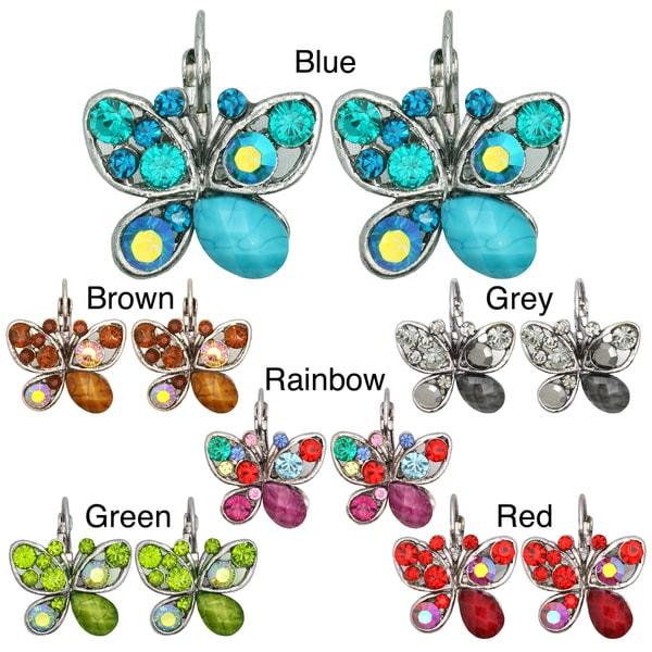 Kate Marie Vintage Rhinestone-accented Butterfly Earrings