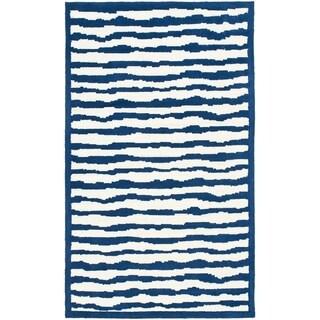 Handmade Children's Stripes Ivory/ Blue Wool Rug (8' x 10')
