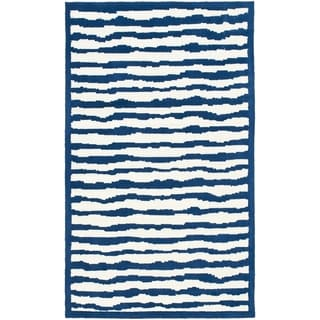 Handmade Children's Stripes Ivory/ Blue Wool Rug (8' x 10')