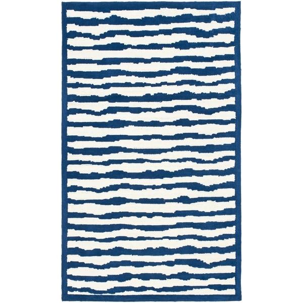 Safavieh Handmade Children's Stripes Ivory/ Blue Wool Rug (8' x 10')