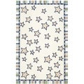 Handmade Children's Stars Ivory New Zealand Wool Rug (8' x 10')