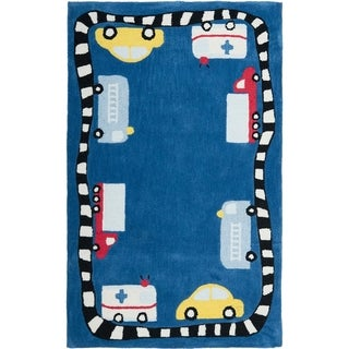Handmade Children's Cars & Trucks Blue Polyester Rug
