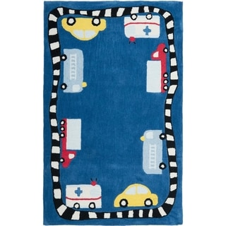Handmade Children's Cars & Trucks Blue Polyester Rug