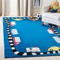 Handmade Children's Cars & Trucks Blue New Zealand Wool Rug