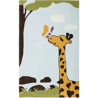 Handmade Children's Giraffe and Butterfly New Zealand Wool Rug