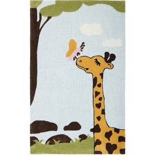 Safavieh Handmade Children's Giraffe and Butterfly New Zealand Wool Rug