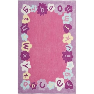 Handmade Children's Alphabets Pink New Zealand Wool Rug