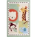 Handmade Children's Zoo Ivory New Zealand Wool Rug