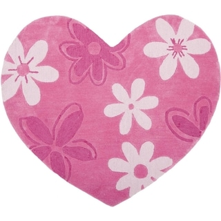Handmade Children's Daisies Pink Hearts New Zealand Wool Rug