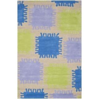 Safavieh Handmade Children's Patches Beige New Zealand Wool Rug