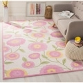 Handmade Children&#39;s Spring Ivory New Zealand Wool Rug