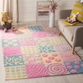 Handmade Children&#39;s Patchworks Pink New Zealand Wool Rug