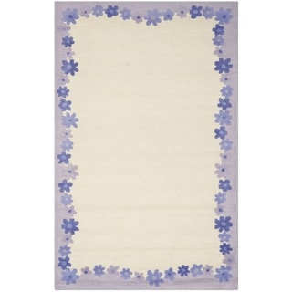 Handmade Children's Daisy Borders Ivory New Zealand Wool Rug