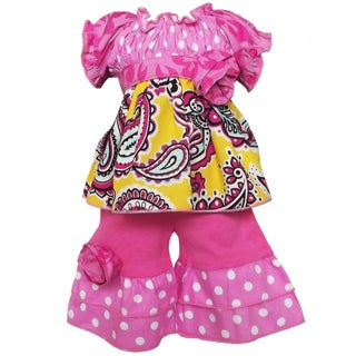 AnnLoren 2 piece Smocked Paisley and Polka Dot Outfit fits American Girl Doll