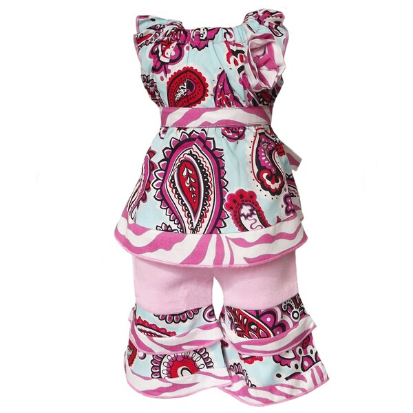 AnnLoren 2 piece Paisley & Pink Zebra Outfit Fits American Girl Doll