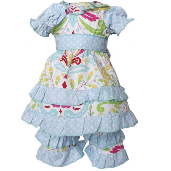 AnnLoren 2 piece Blue Shabby Floral Tunic & Capri Set Fits American Girl Doll