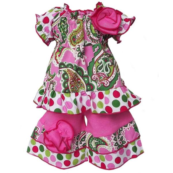 AnnLoren 2-piece Paisley & Polka Dot Smocked Tunic/Capri Set for American Girl Doll