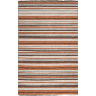 Handwoven Lancia Orange Wool Rug (3'6