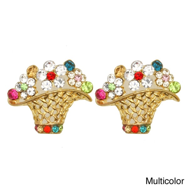 Kate Marie Rhinestone Basket Fashion Earrings