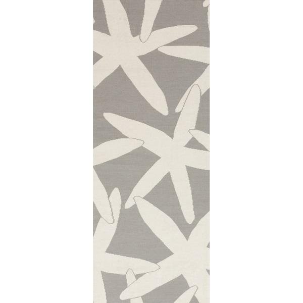 Handwoven Hummer Light Grey Wool Rug (2'6 x 8')
