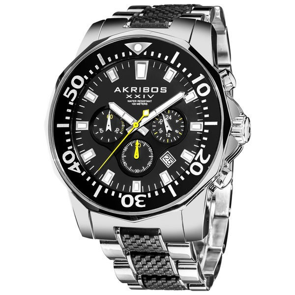 Akribos XXIV Men's Stainless Steel Diver's Classic Chronograph Two-Tone Watch